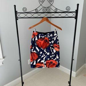 Coral & blue pencil skirt from Anthropologie